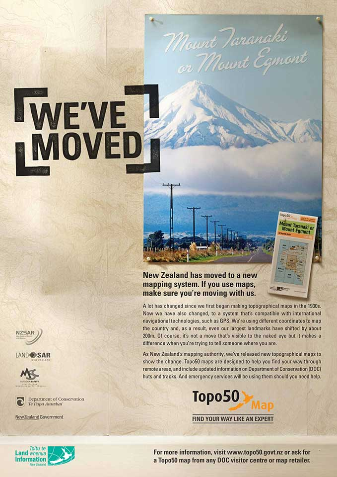 Land Information New Zealand 'We've Moved' campaigm.